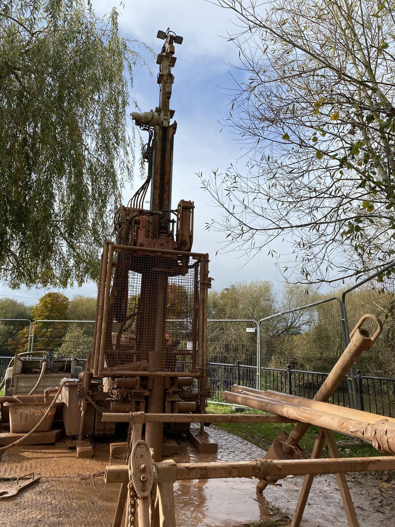 rotary open hole drilling for a new road bridge